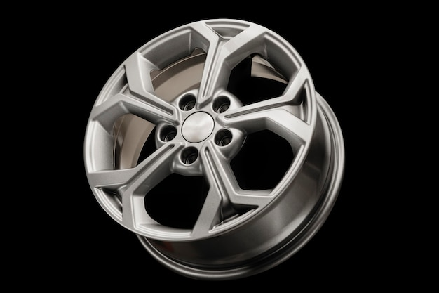 New modern alloy wheel close-up on a black background. car beautiful.