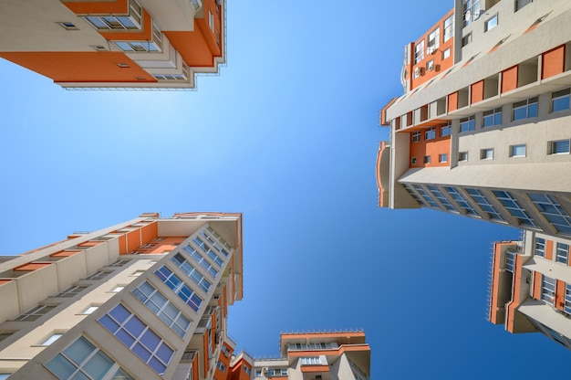 New modern apartment buildings shot from below