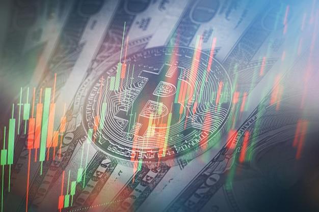 새로운 현대 컴퓨터 및 비즈니스 전략을 개념으로. 주가 변동 보고서에 대한 시장 분석에 사용되는 촛대 차트가 있는 재무 다이어그램