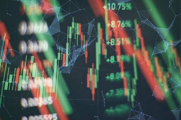 개념으로 새로운 현대 컴퓨터 및 비즈니스 전략입니다. 주가 변동 보고서에 대한 시장 분석에 사용되는 촛대 차트가 있는 재무 다이어그램