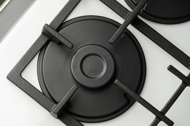 New modern shining metal gas cooker close up