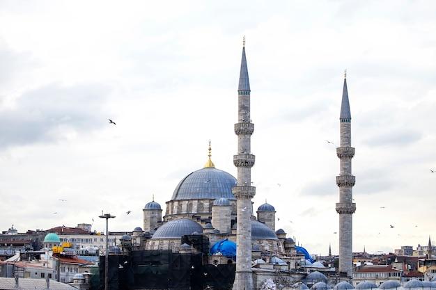 Новая мечеть в стамбуле в пасмурную погоду с жилыми домами вокруг и летающими птицами, турция