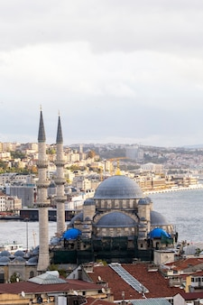 New mosque with bosphorus strait and city, istanbul, turkey
