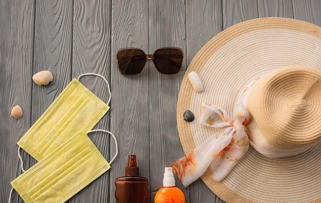 뉴 노멀 covid 페이스 마스크 모자 가방 태양 보호 선글라스 로션 tan 자외선