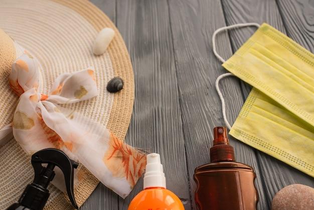 新しい通常のcovidフェイスマスク帽子バッグ日焼け止めサングラス日焼け止めローション日焼け紫外線