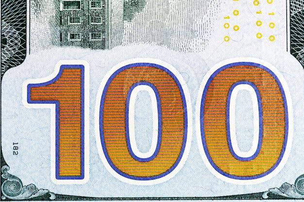 Новый снимок крупным планом стодолларовой банкноты. фотография высокого разрешения.