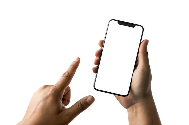 空白の画面とモダンなフレームレス設計の新しい電話技術スマートフォン
