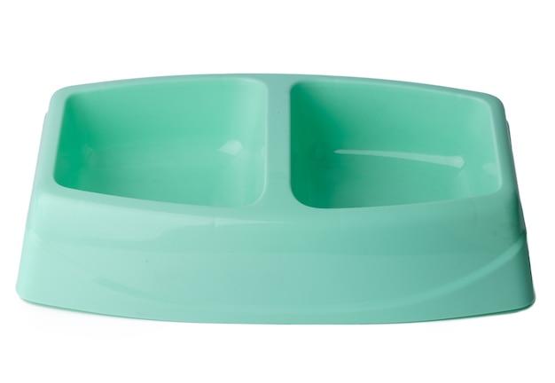 New plastic pet bowl isolated on white background