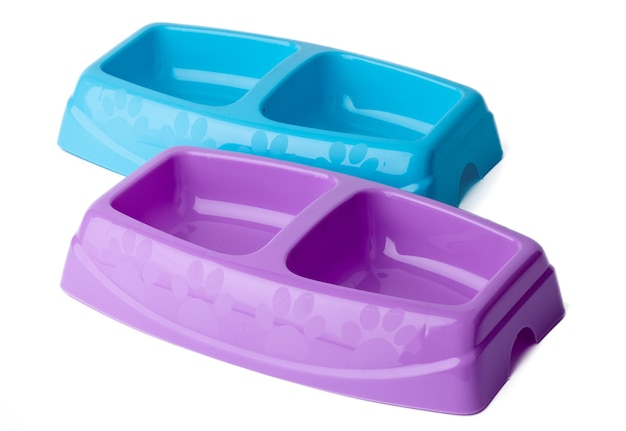 New plastic pet bowl isolated on white