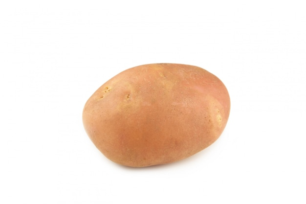 New potato isolated on white background close up. top view