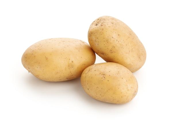 New potatoes isolated on white background. raw potato