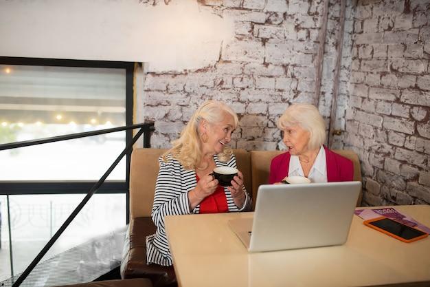 新しい計画。ラップトップに座って関与しているように見える2人の金髪の年配の女性