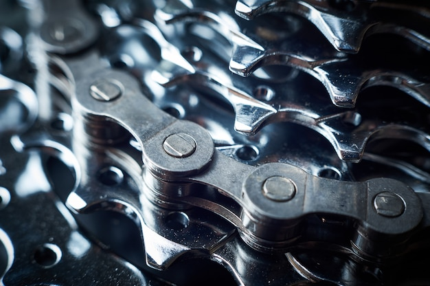 New rear mountain bike cassette with chain close up