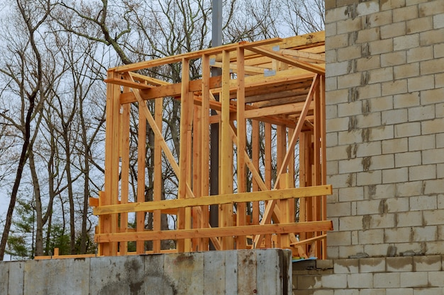 New residential home framing interior view under construction new house