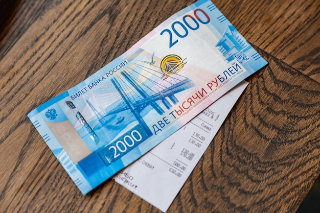 New russian banknotes denominated in 2000 rubles to pay the bill