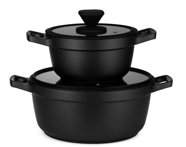 New set of black saucepans isolated on white