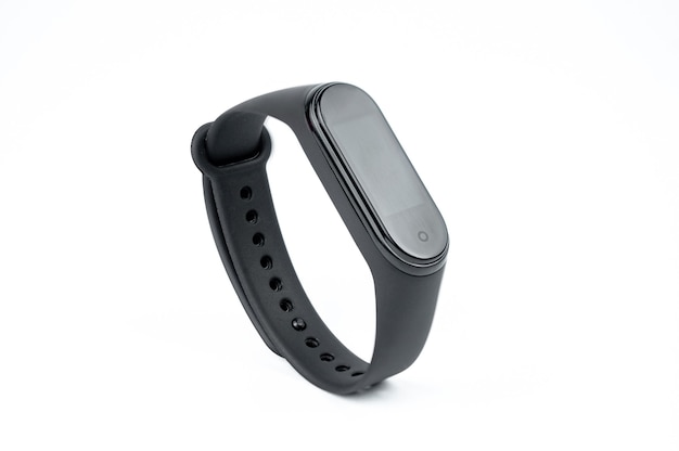 New smart fitness bracelet with colored strap isolated on white background