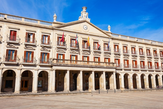 New spain square or plaza espana nueva in vitoria-gasteiz city, basque country in northern spain