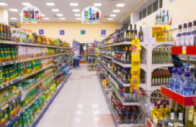 New supermarket in blurry for background