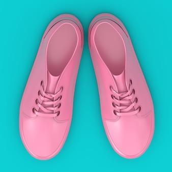 青の背景に新しい無印のピンクのスニーカーのモックアップデュオトーン。 3dレンダリング