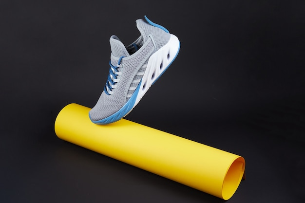 New unbranded running sneaker or trainer with yellow paper tube mens sport footwear