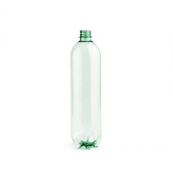 New unused green empty plastic bottle without cap on white background isolated.
