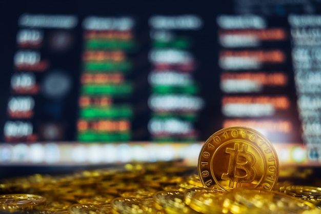 New virtual money concept, gold bitcoins ( btc )  is digital crypto-currency use blockchain technology.