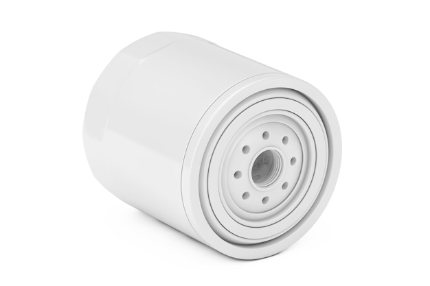흰색 배경에 클레이 스타일로 하우징에 있는 새 흰색 자동차 오일 필터. 3d 렌더링
