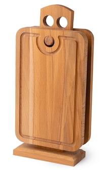 白い背景で隔離の新しい木製まな板