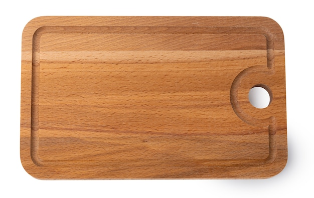 New wooden cutting board isolated on white background