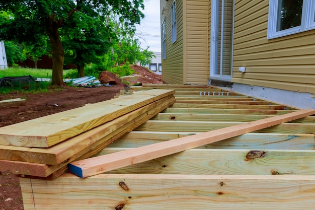 A new wooden, timber deck being constructed