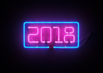 New year 2018 made from neon alphabet 3d rendering