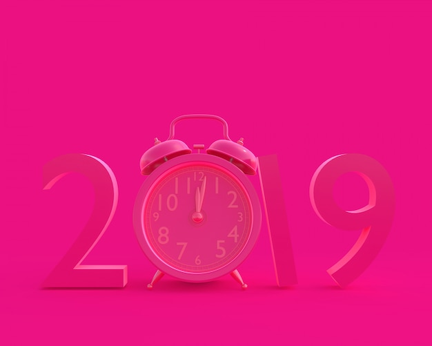 New year 2019 concept and clock pink color.
