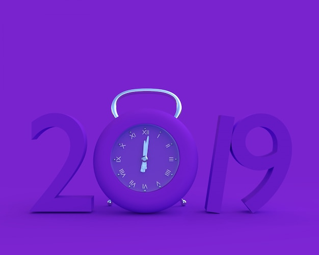 New year 2019 concept and clock purple color.