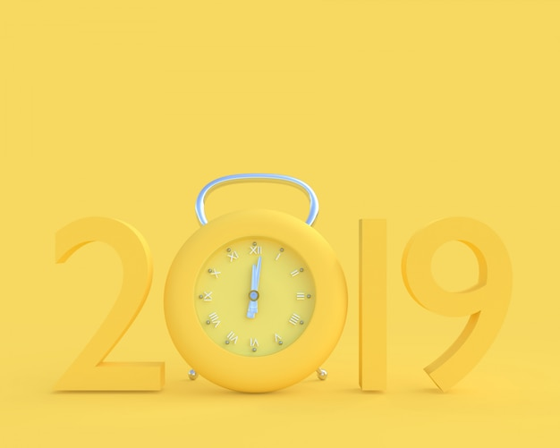 New year 2019 concept and clock yellow color.