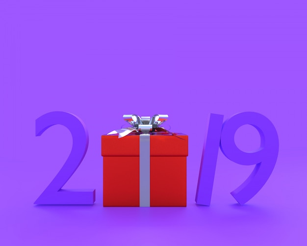 New year 2019 concept purple color and red gjift box
