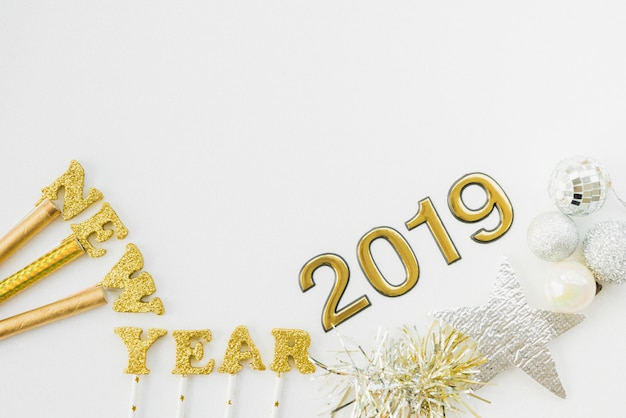 New year 2019 decorations forming composition