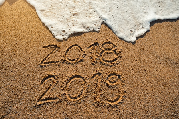 New year 2019 is coming concept. happy new year 2019 replace 2018 concept on the sea beach