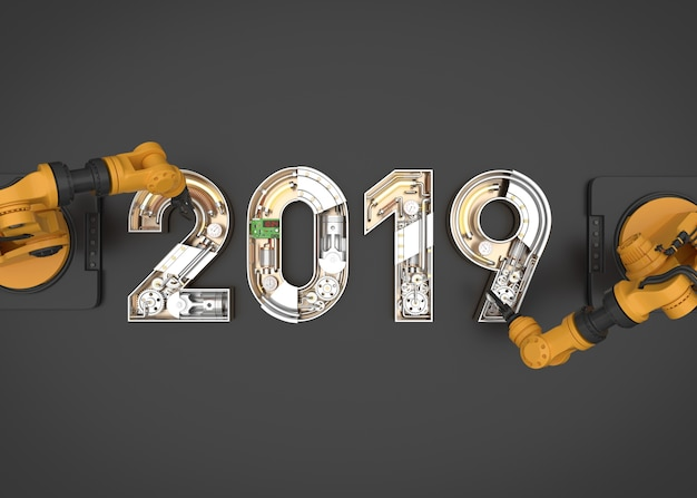 New year 2019 made from mechanical alphabet with robotic arm