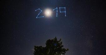 青い夜に新年2019星と月が木々に輝きます