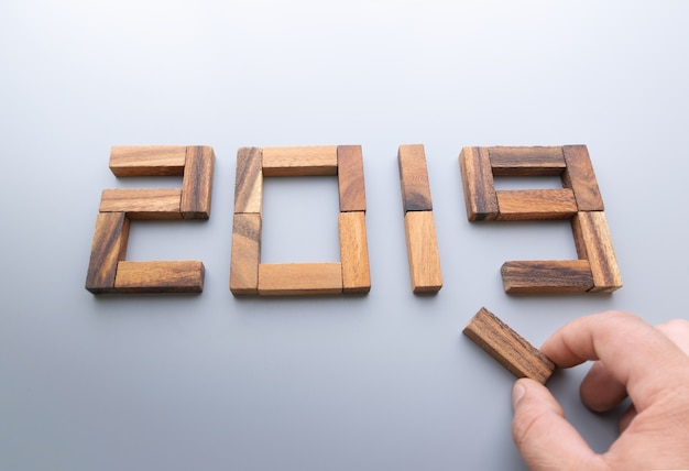 New year 2019 wood number.