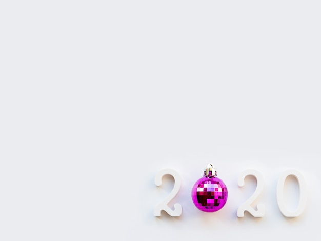 New year 2020 background with purple ball.