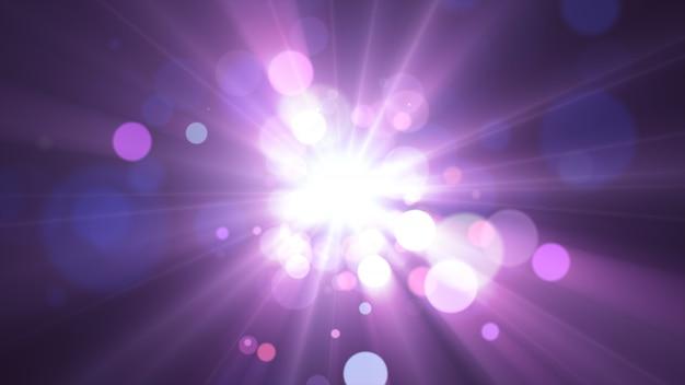 2020年。背景のボケ味。抽象的なライト。メリークリスマスの背景。キラキラ光。デフォーカス粒子。紫とピンクの色。中央の光線