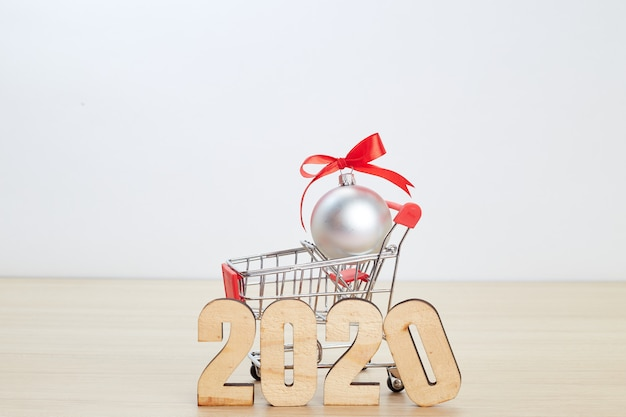 New year 2020 festival shopping concept on wooden
