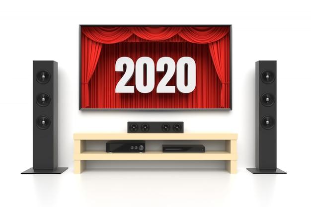 New year 2020 home cinema on white