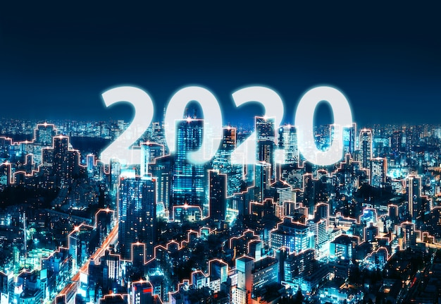 New year 2020 network and connection city of japan