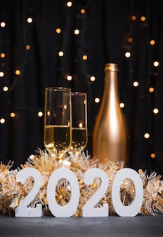 New year 2020 with champagne bottle