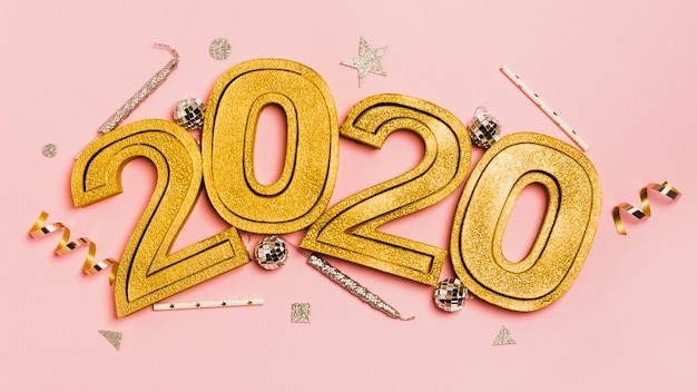 New year 2020 with christmas and new year eve ornaments