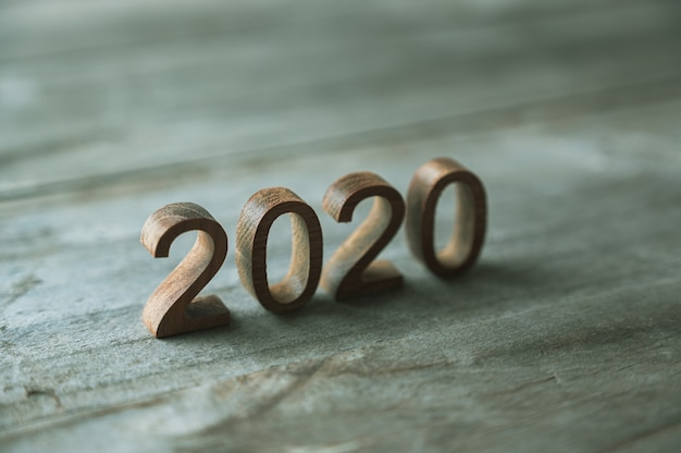 New year 2020 of wooden number
