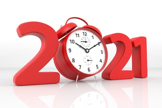 2021년 새해와 빨간색 알람 시계. 3d 렌더링